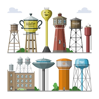 Water tower  tank storage watery resource reservoir and industrial high metal structure container water-tower in city illustration set of towered construction isolated on white background