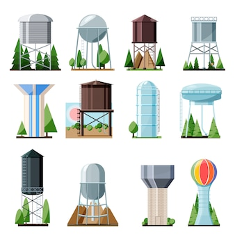 Water tower tank storage watery resource reservoir and industrial high metal structure container water-tower illustration set of towered construction isolated on white background