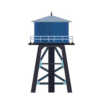 Водонапорная башня вектор икона иллюстрация бак изолированных белый. контейнер для промышленной архитектуры