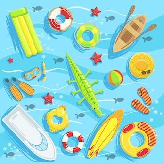 Водные игрушки и другие предметы сверху иллюстрация