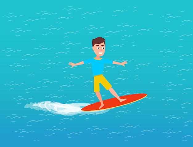 Water transport and male on surfing board