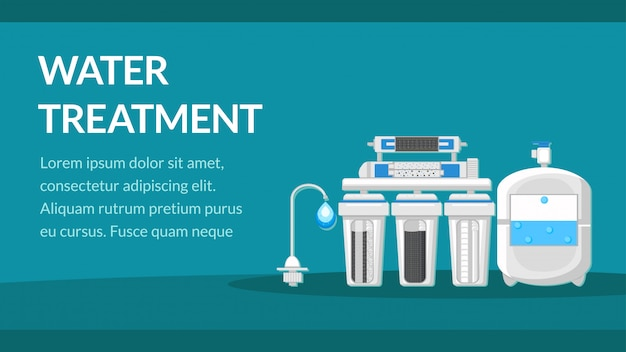 Water treatment banner template with text space