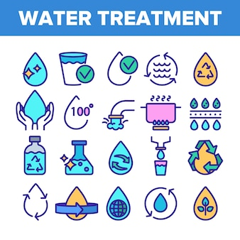 Water treatment signs icons set