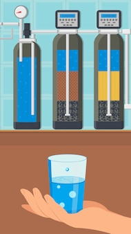 Water treatment system color vector illustration