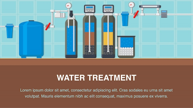 Water treatment system flat banner with text space