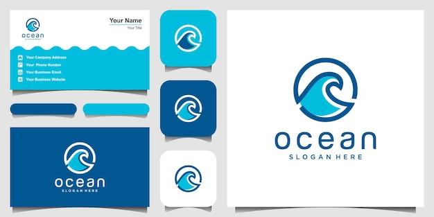 線画と水の波アイコンベクトルイラストデザイン。ロゴのインスピレーション。と名刺