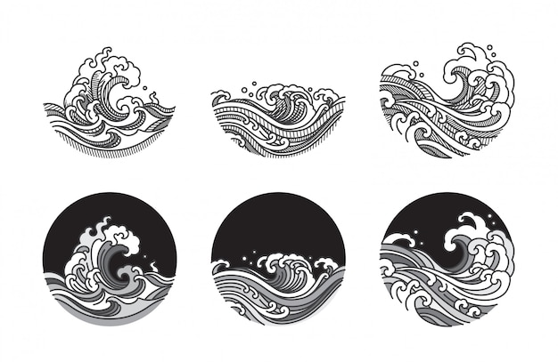 Water wave line art illustration set