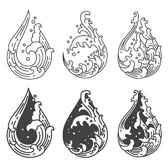 Water wave line in droplet shape set
