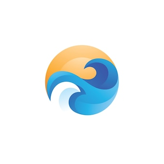 Water wave sea and sun logo