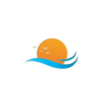 Water wave and sun vector symbol