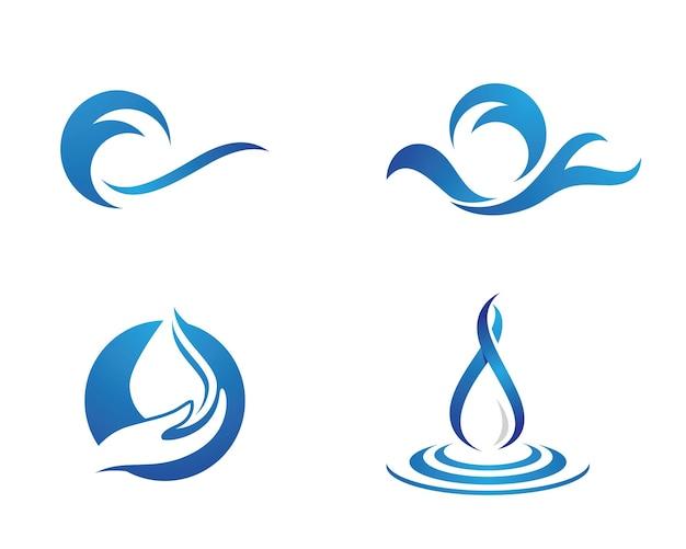 Символ волны воды и значок вектора шаблона логотипа