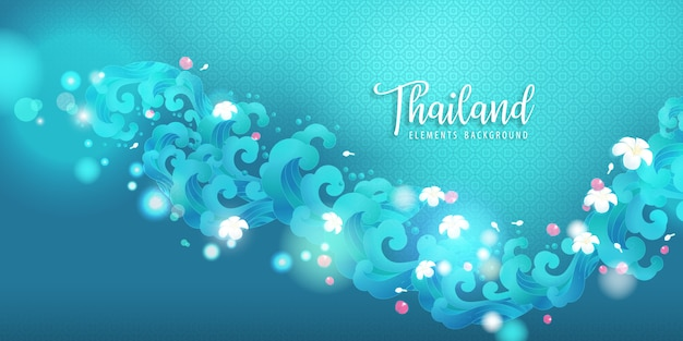 Water wave and thai flower llustration. for songkran thailand water festival.