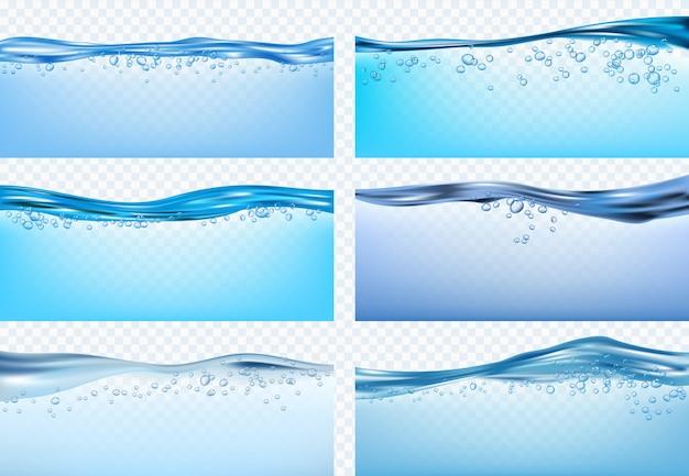 水の波。青い流れるリアルな波が新鮮な液体製品をはね、雨滴を飲みます。波の青い液体の海、透明な淡水のイラスト