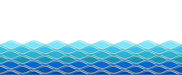 水の波。オーシャンサーフィンの波、孤立した海の背景。抽象的な自然夏のバナー。ベクトル青い波状のシームレスなパターン。イラスト波状曲線、シームレスに流れる海の波