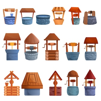 Water well icons set, cartoon style