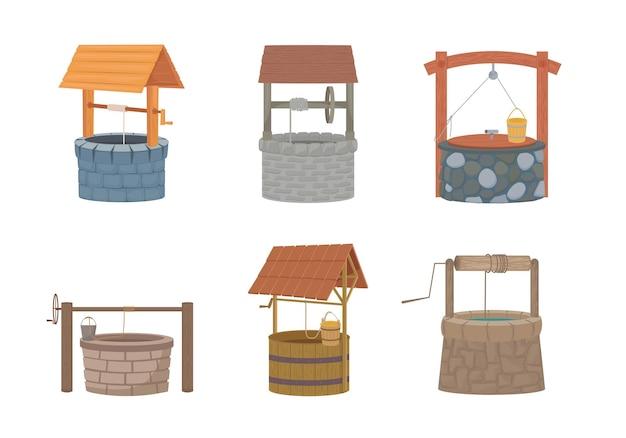 井戸セット。バケツと保護カバー付きの素朴な石と木のデザイン