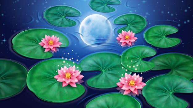 연꽃과 달 반사가 있는 물 별 배경 장식이 있는 분홍색 꽃 꽃