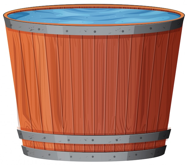Water in wooden barrel on white background