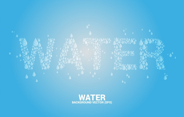 Water wording from drop background
