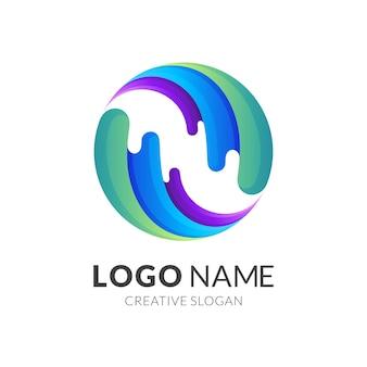 물 세계 로고, 지구본과 물, 화려한 스타일의 조합 로고 프리미엄 벡터