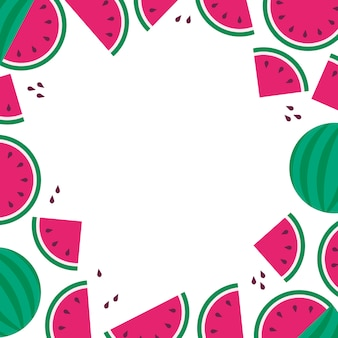 Wateramelon frame background, summer sale, fruit party, flat style