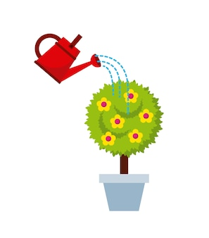 Watercan and beautiful tree with flowers