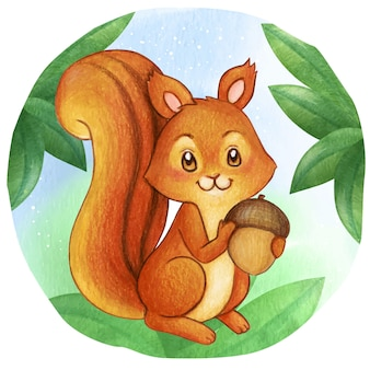 Waterclor cute squirrel on the woods holding an acorn