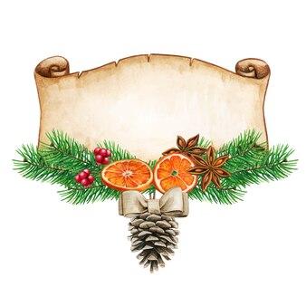 Waterclorエレガントな素朴なクリスマス冬の挨拶