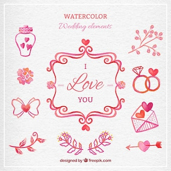 Waterclor lovely wedding elements