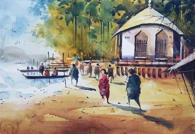 Waterclor people are crossing the river by boat hand art