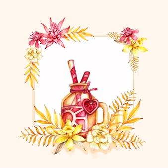 열대 잎 watercolol 꽃 배경