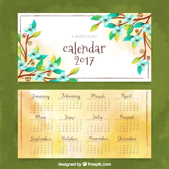 Watercolor 2017 calendar with flowers