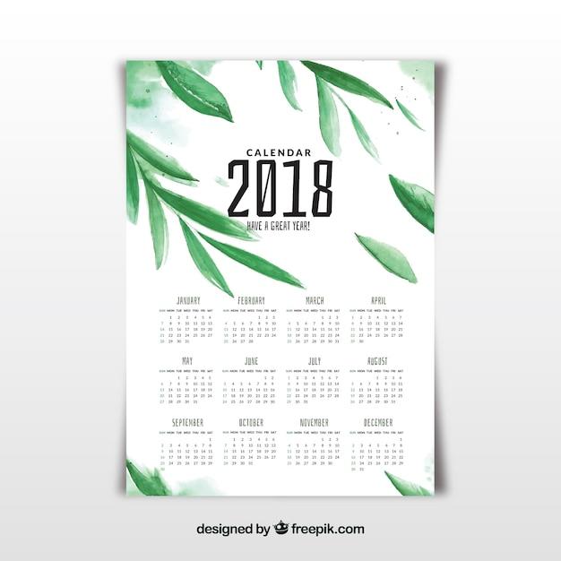 Watercolor 2018 calendar