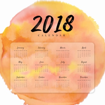 Calendario annuale del nuovo anno dell'acquerello 2018