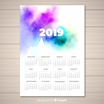 Watercolor 2019 calendar