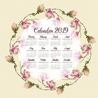 水彩2019花カレンダー