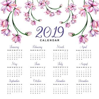 Watercolor 2019 floral calendar