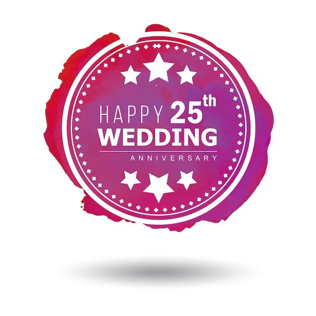 Watercolor 25 wedding anniversary floral frame designs