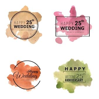 Disegni di cornice floreale dell'acquerello 25 anniversario di nozze