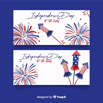 Watercolor 4th of july banners template