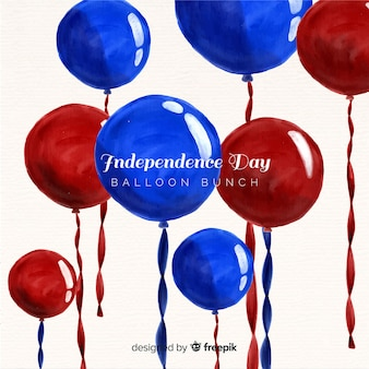 Watercolor 4th of july - independence day background with balloons