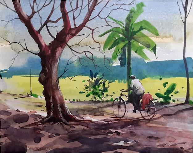 村の道路のハンドアートで自転車に乗った男の水彩画