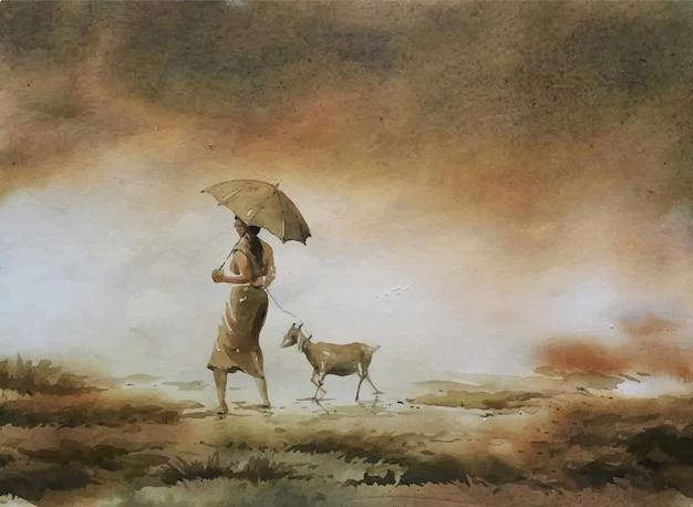 水彩画ヤギと一緒に歩く女性のイラスト