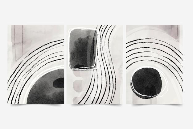 水彩抽象芸術カバーセット 無料ベクター