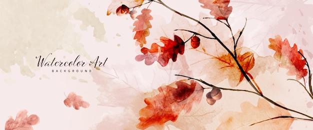 オークと季節の葉と水彩の抽象的な背景秋のコレクション。手描きの水彩画のナチュラルアート。デザインしたヘッダー、バナー、ウェブ、壁、カードなどに最適です。