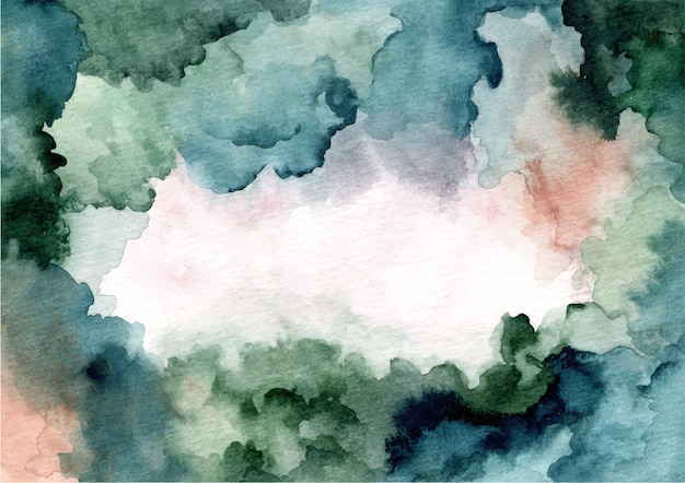 Watercolor abstract blue green texture background