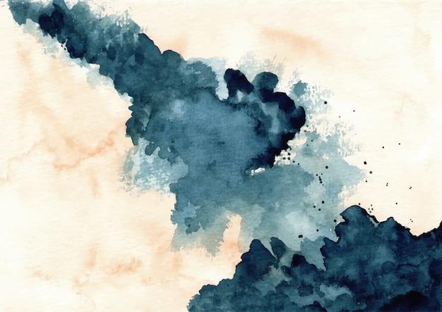 Акварель абстрактный синий всплеск фон