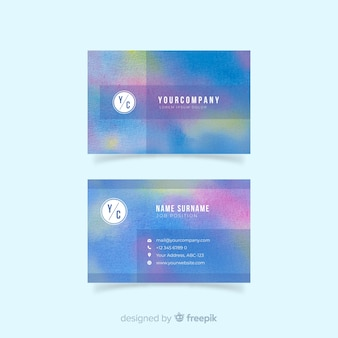 Watercolor abstract business card template
