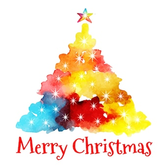 Watercolor abstract christmas tree