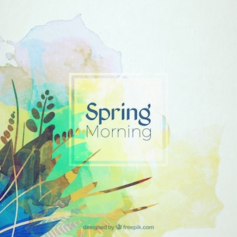 Watercolor abstract leaves spring background